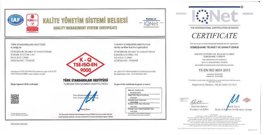 ODAMIZ TS EN ISO 9001:2015 KALİTE YÖNETİM BELGESİNİ YENİLEDİ